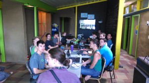 Marcin and the interns (above) did a lot of summer planning at their first morning meeting. Photo by Marcin Jakubowski